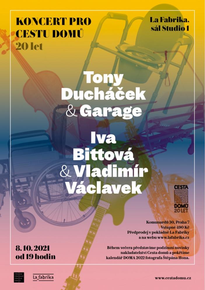 Iva Bittová, Vladimír Václavek a Tony Ducháček & Garage zahrají pro Cestu domů