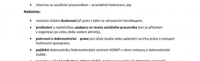 Dobrovolníci pro pomoc s výukou práce na PC  pro klienty Centra pro volný čas CEDR Pardubice o.p.s.