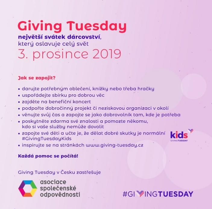 Den dárcovství Giving Tuesday počtvrté v Česku!