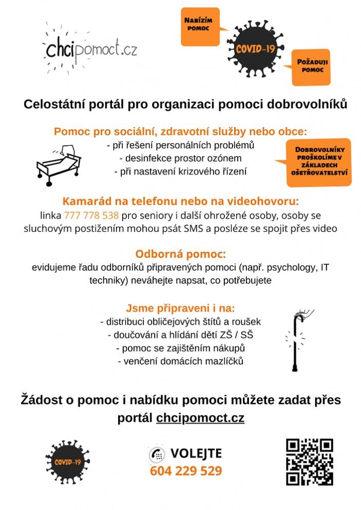 Komu dobrovolníci z portálu www.chcipomoct.cz nabízí svou pomoc?